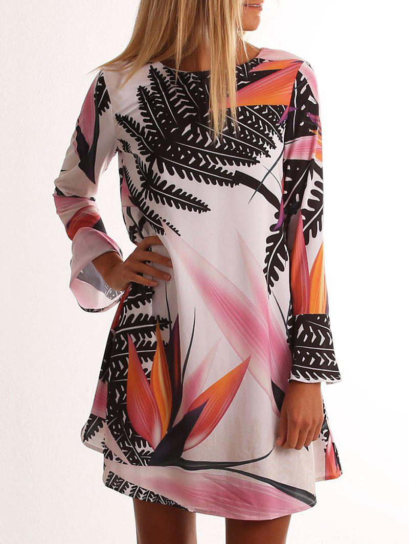 Fancy Leaf Print Bell Sleeve Tunic Dress