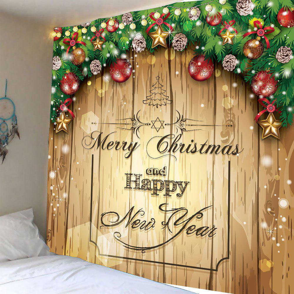 Waterproof Christmas Wooden Door Pattern Wall Art TapestryHOME<br><br>Size: W79 INCH * L59 INCH; Color: COLORFUL; Style: Festival; Theme: Christmas; Material: Polyester; Feature: Removable,Washable,Waterproof; Shape/Pattern: Wood; Weight: 0.3200kg; Package Contents: 1 x Tapestry;