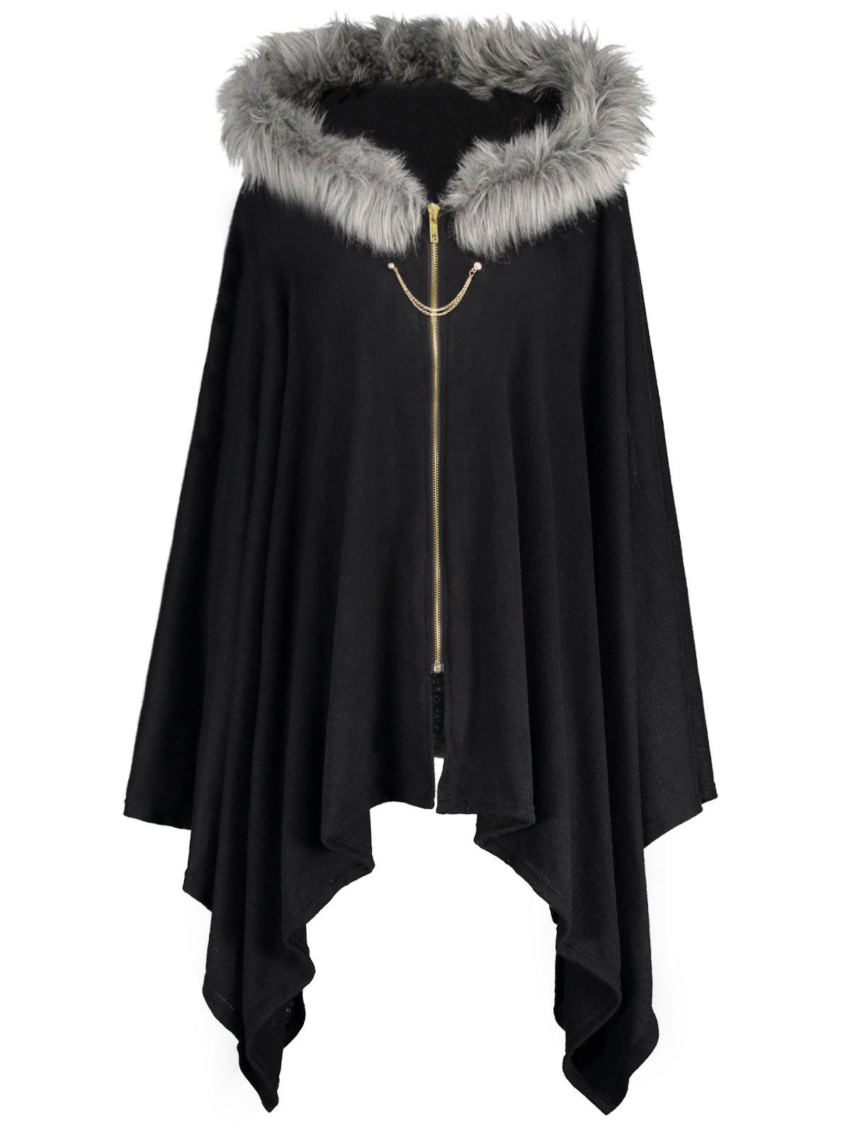 Affordable Faux Fur Insert Plus Size Asymmetric Cape Coat