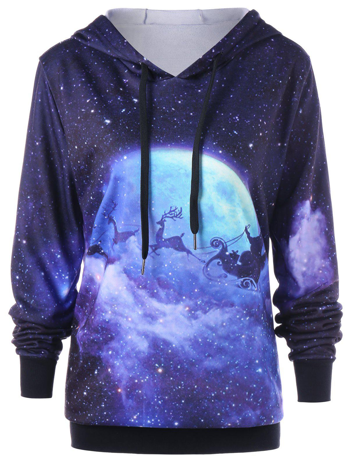 Plus Size Galaxy Reindeer Christmas HoodieWOMEN<br><br>Size: 3XL; Color: COLORMIX; Material: Polyester; Shirt Length: Long; Sleeve Length: Full; Style: Casual; Pattern Style: Animal,Character; Season: Fall,Spring; Weight: 0.5000kg; Package Contents: 1 x Hoodie;