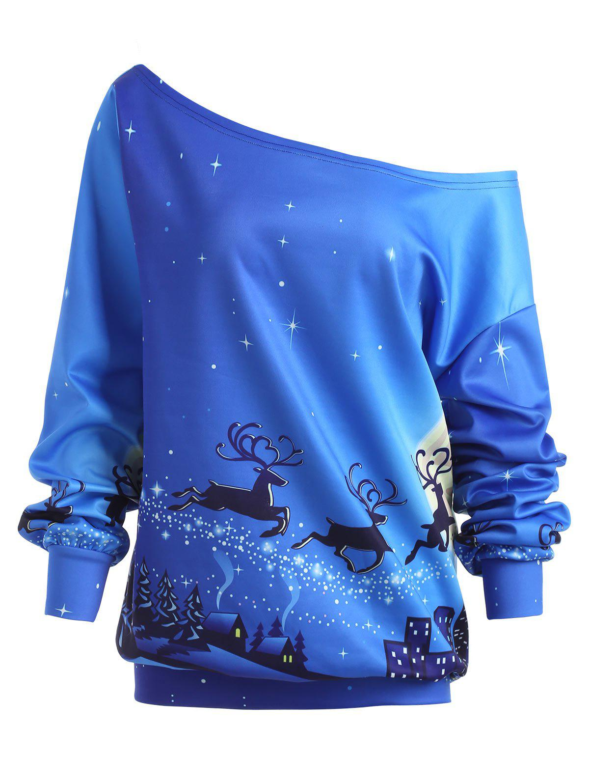 Plus Size Christmas Day ELK Skew Neck SweatshirtWOMEN<br><br>Size: 5XL; Color: BLUE; Material: Polyester; Shirt Length: Regular; Sleeve Length: Full; Style: Fashion; Pattern Style: Animal,Character; Season: Fall,Winter; Weight: 0.3700kg; Package Contents: 1 x Sweatshirt;