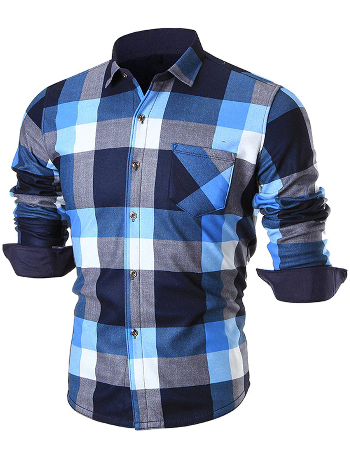 Cheap Chest Pocket Long Sleeve Checkered Shirt