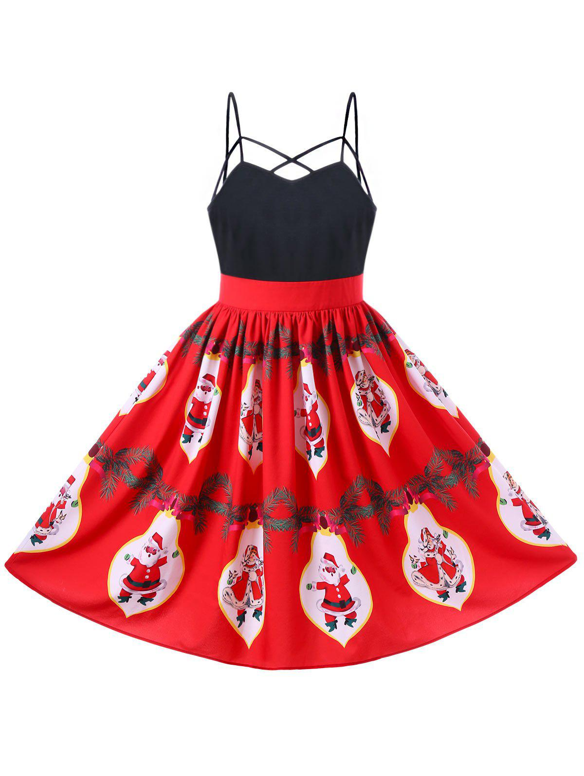 Christmas Santa Claus Strappy 50s Swing DressWOMEN<br><br>Size: M; Color: RED; Style: Vintage; Material: Polyester; Silhouette: A-Line; Dresses Length: Knee-Length; Neckline: Spaghetti Strap; Sleeve Length: Sleeveless; Pattern Type: Character; With Belt: No; Season: Fall,Spring,Summer; Weight: 0.3000kg; Package Contents: 1 x Dress;
