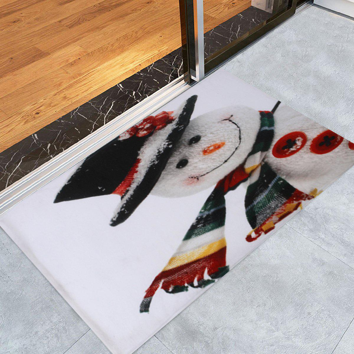 Christmas Snowman Print Antislip Bath RugHOME<br><br>Size: W16 INCH * L24 INCH; Color: WHITE; Products Type: Bath rugs; Materials: Coral FLeece; Pattern: Snowman; Style: Festival; Shape: Rectangular; Package Contents: 1 x Rug;