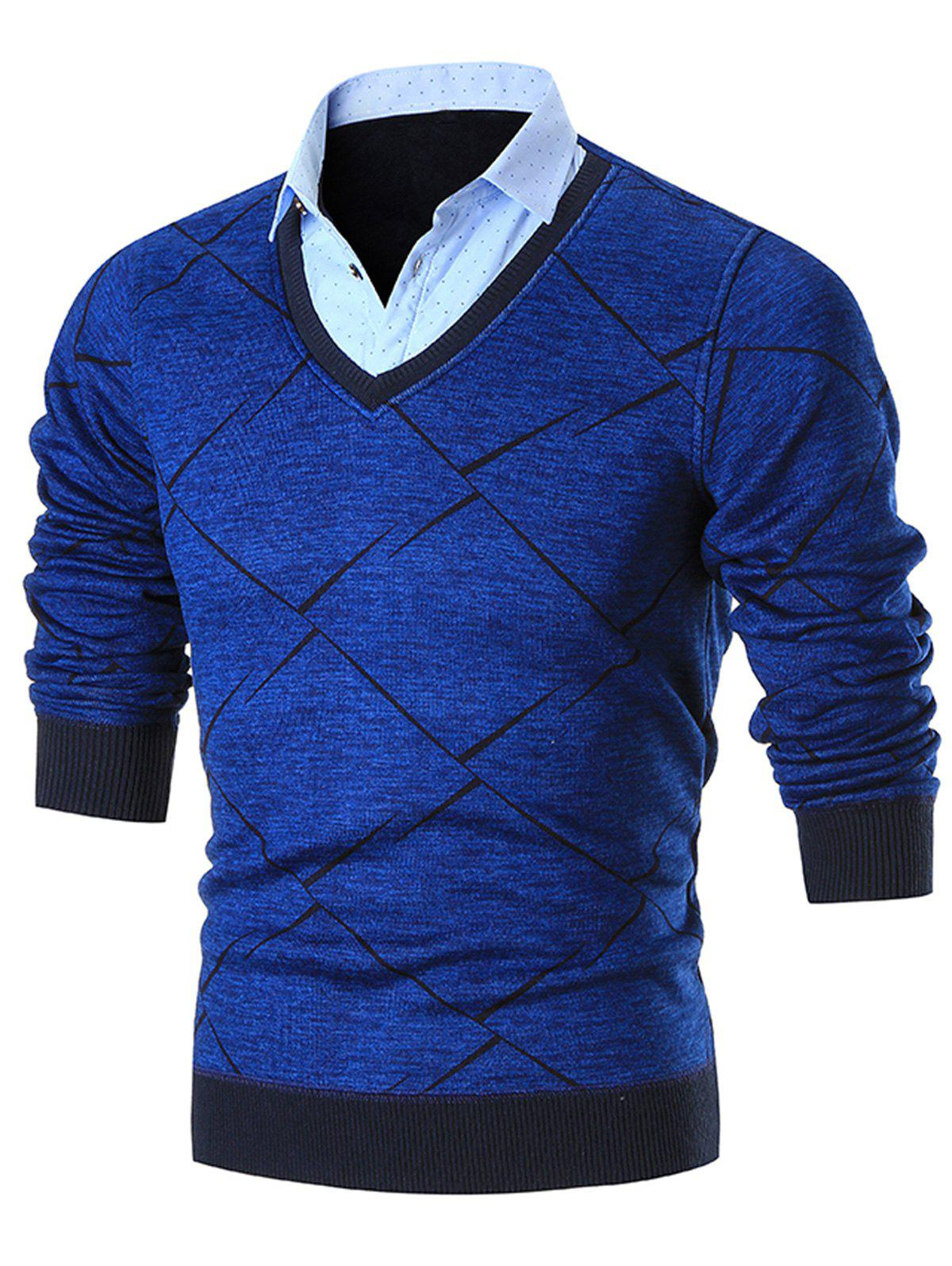 Buy Fake Two Piece Knitted Shirt Collar Sweater
