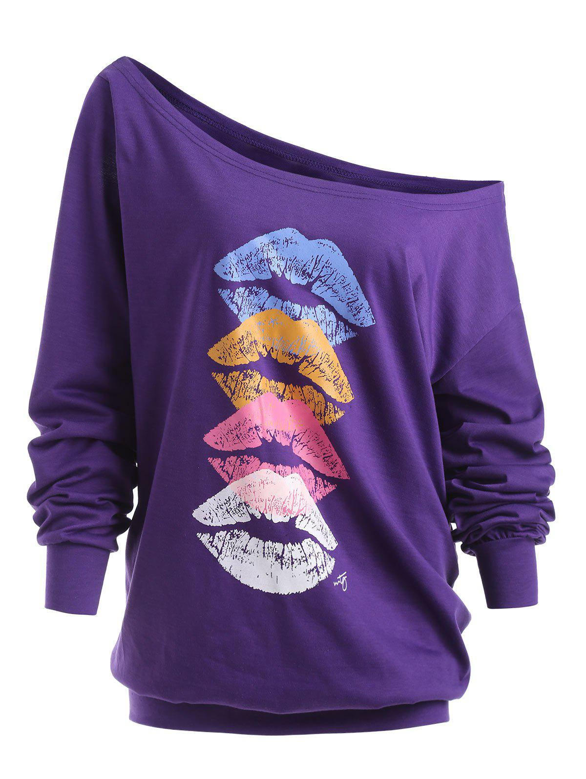 Lips Graphic Plus Size Skew Neck SweatshirtWOMEN<br><br>Size: 5XL; Color: PURPLE; Material: Cotton Blend,Polyester; Shirt Length: Regular; Sleeve Length: Full; Style: Fashion; Pattern Style: Print; Season: Fall,Winter; Weight: 0.3700kg; Package Contents: 1 x Sweatshirt;