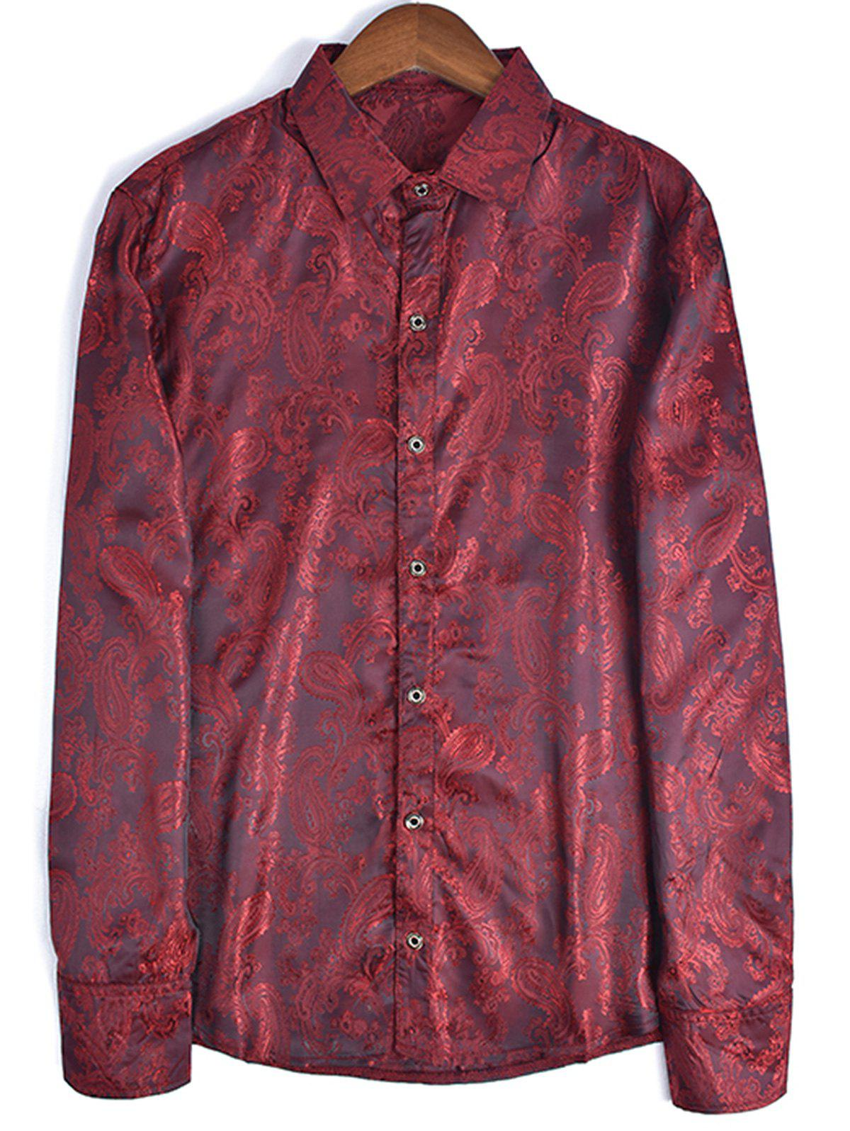 Fashion Long Sleeve Paisley Jacquard Shirt