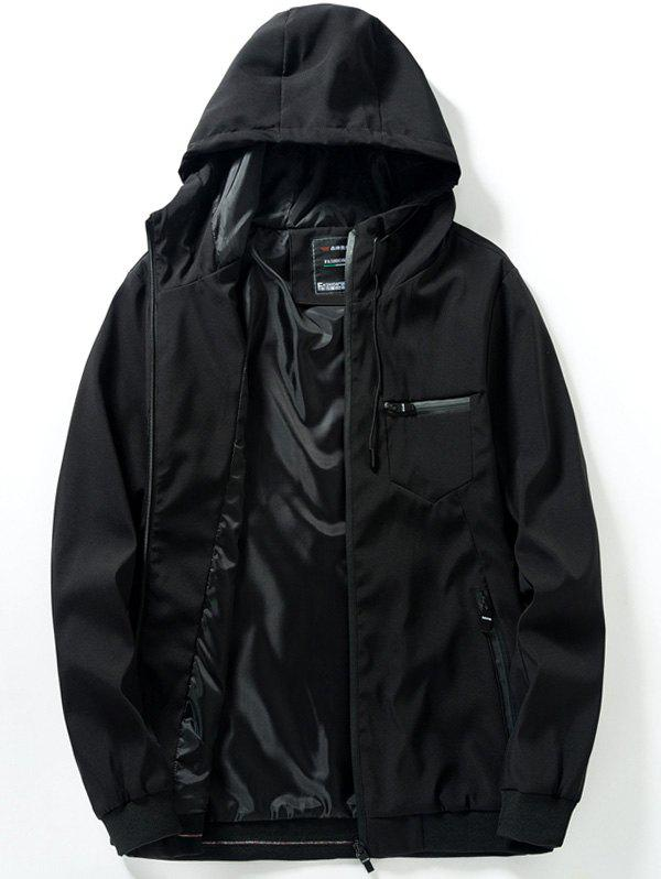 Outfits Chest Pocket Zip Up Hooded Track Jacket