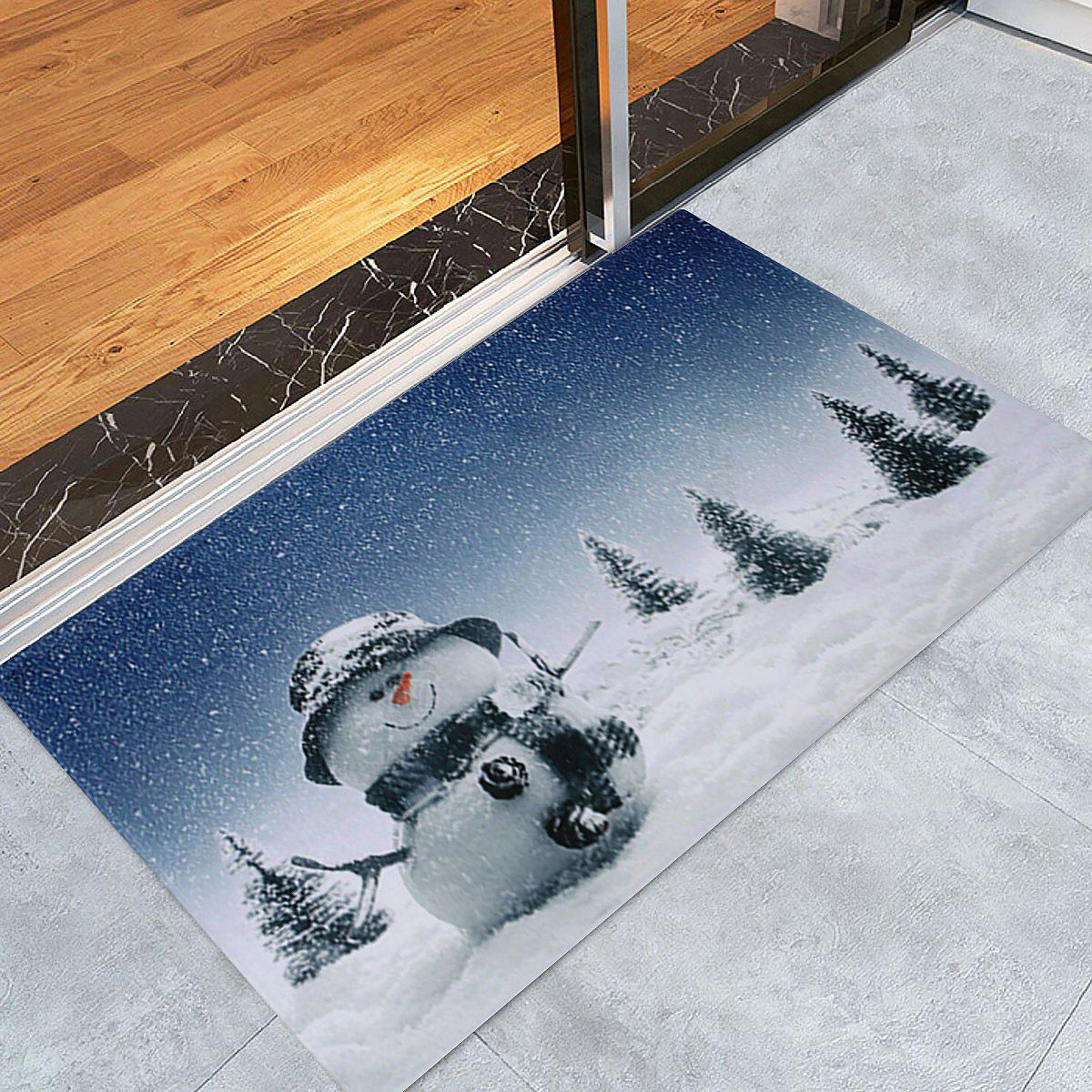 Store Christmas Snowy Snowman Pattern Anti-skid Water Absorption Area Rug