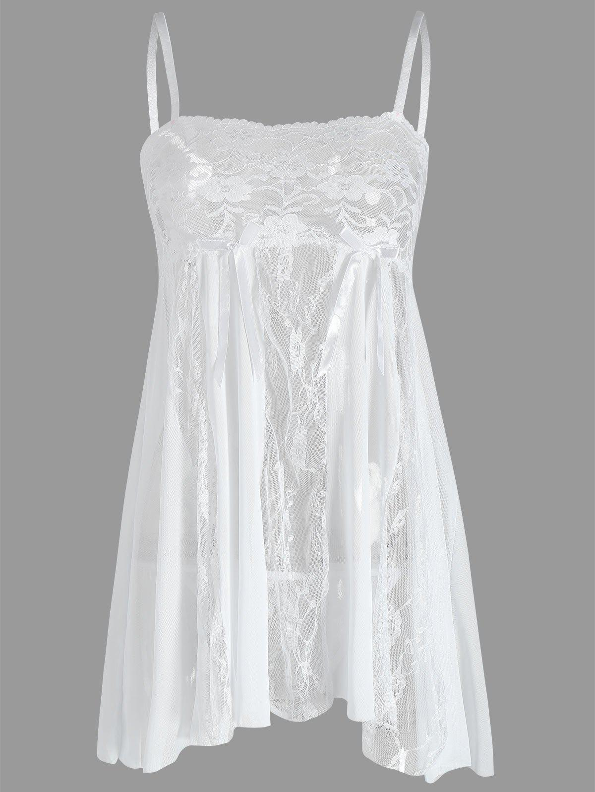 Lace Slip See Thru BabydollWOMEN<br><br>Size: 2XL; Color: WHITE; Material: Cotton,Polyester; Pattern Type: Solid; Embellishment: Backless,Lace; Weight: 0.1400kg; Package Contents: 1 x Babydoll  1 x T Back;