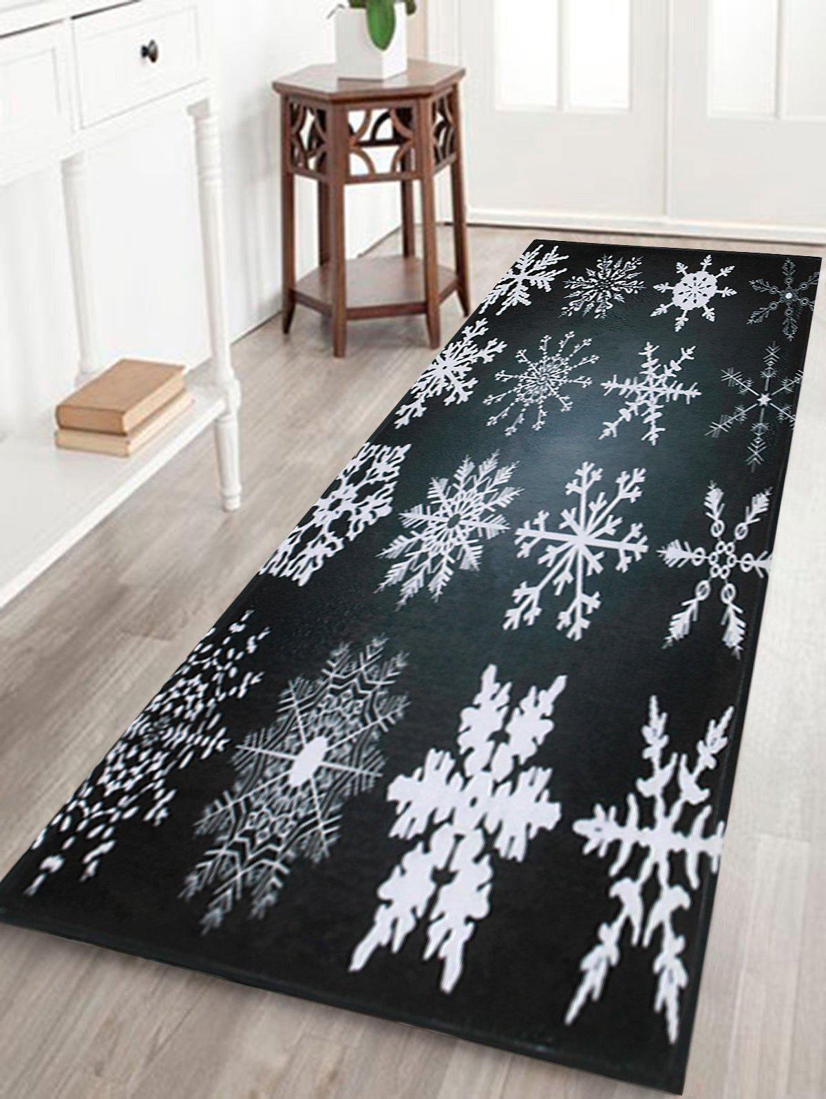 Christmas Snowflake Nonslip Coral Fleece Area RugHOME<br><br>Size: W16 INCH * L47 INCH; Color: BLACK GREY; Products Type: Bath rugs; Materials: Coral FLeece; Pattern: Snowflake; Style: Festival; Shape: Rectangular; Package Contents: 1 x Rug;
