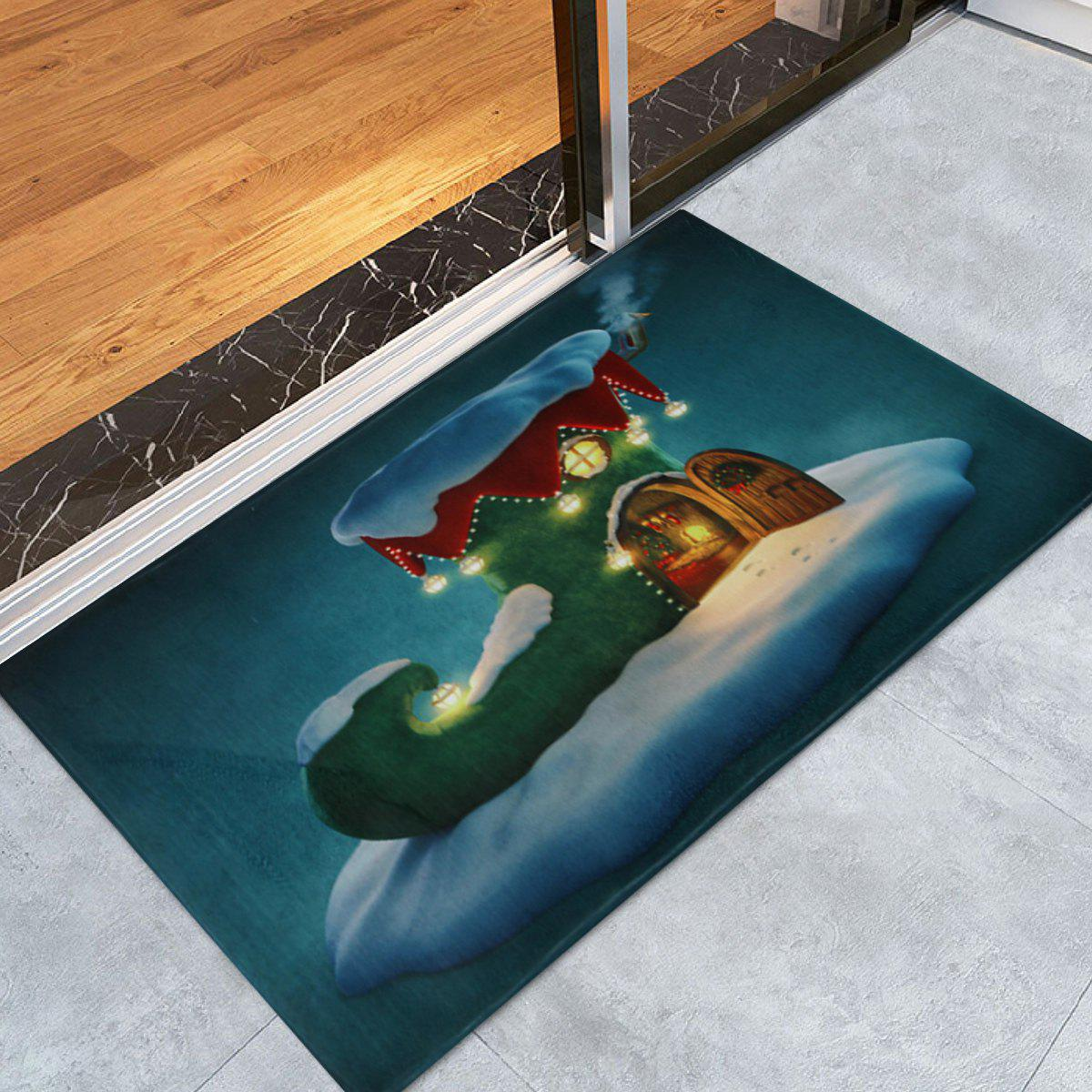 Christmas Boot House Printed Nonslip Bath RugHOME<br><br>Size: W16 INCH * L24 INCH; Color: PEACOCK BLUE; Products Type: Bath rugs; Materials: Coral FLeece; Style: Festival; Shape: Rectangular; Package Contents: 1 x Rug;