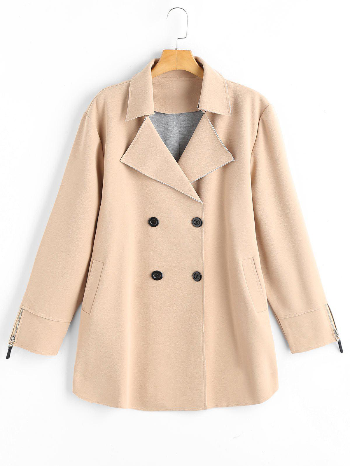 Chic Plus Size Lapel Double Breast Coat with Pocket
