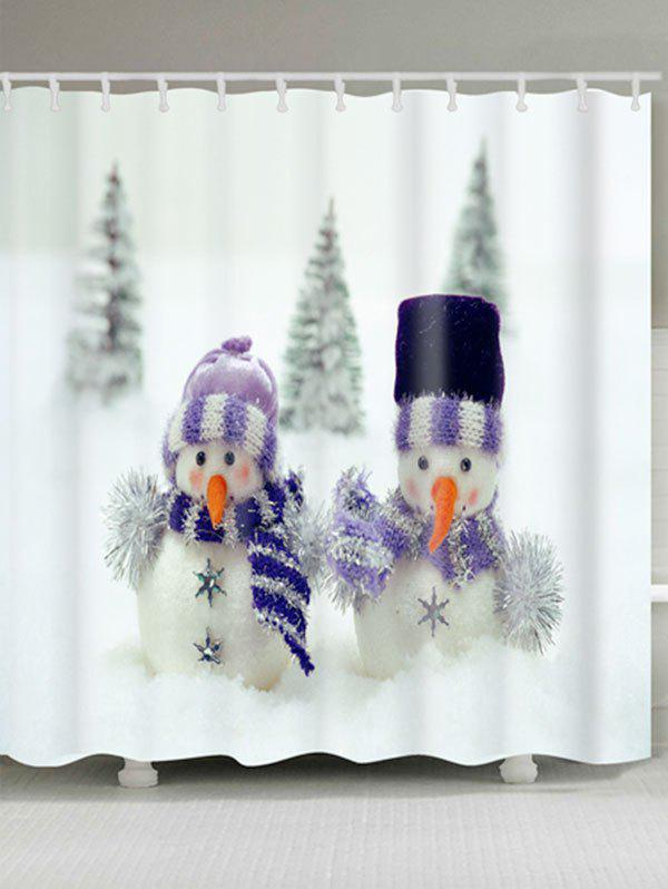 Fashion Snowman Couples Print Christmas Waterproof Shower Curtain