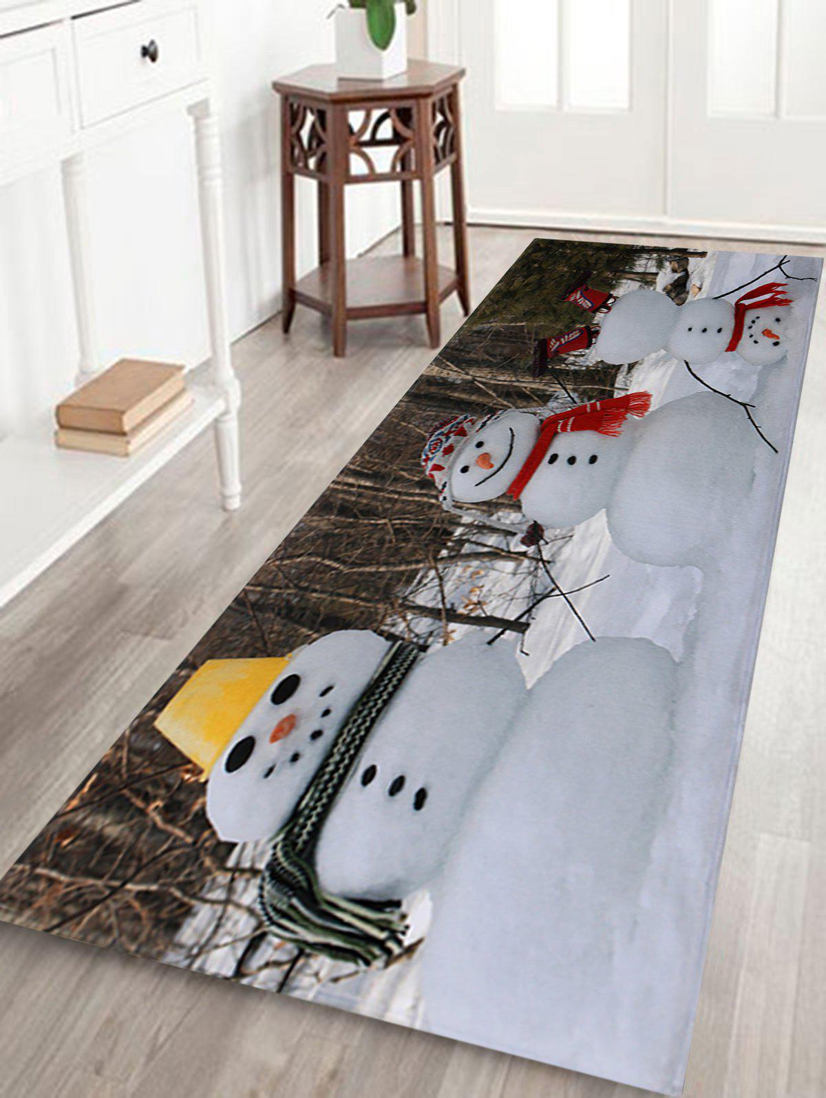 Christmas Snowmen Pattern Anti-skid Water Absorption Area RugHOME<br><br>Size: W16 INCH * L47 INCH; Color: COLORMIX; Products Type: Bath rugs; Materials: Coral FLeece; Pattern: Snowman; Style: Festival; Shape: Rectangle; Package Contents: 1 x Rug;