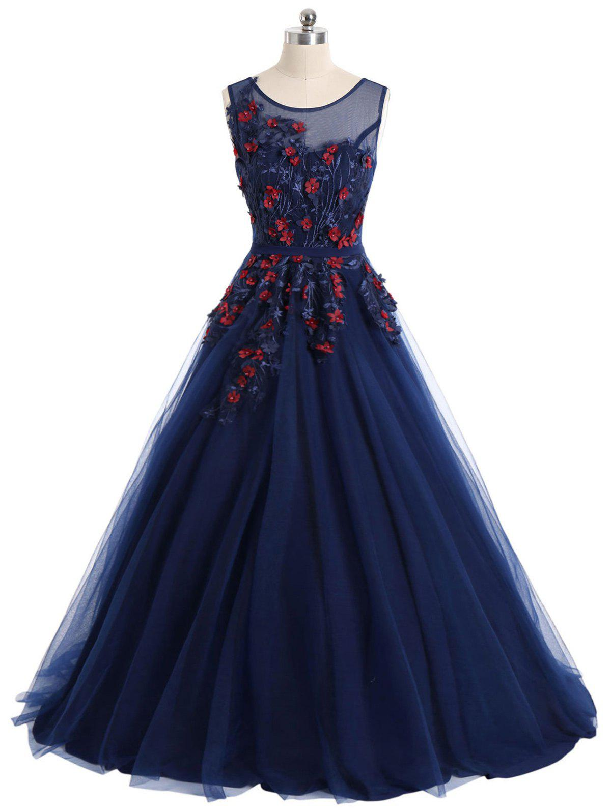 Chic Floral Applique Mesh Maxi Prom Evening Dress