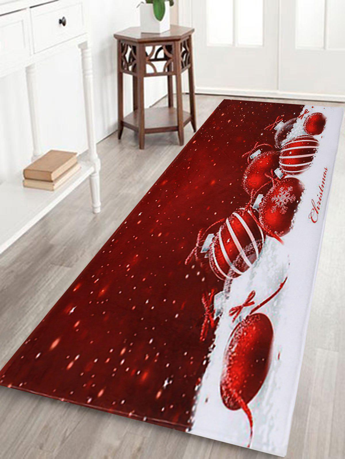 Hot Christmas Baubles Snowfield Pattern Anti-skid Water Absorption Area Rug