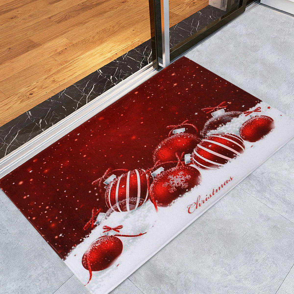 Best Christmas Baubles Snowfield Pattern Anti-skid Water Absorption Area Rug