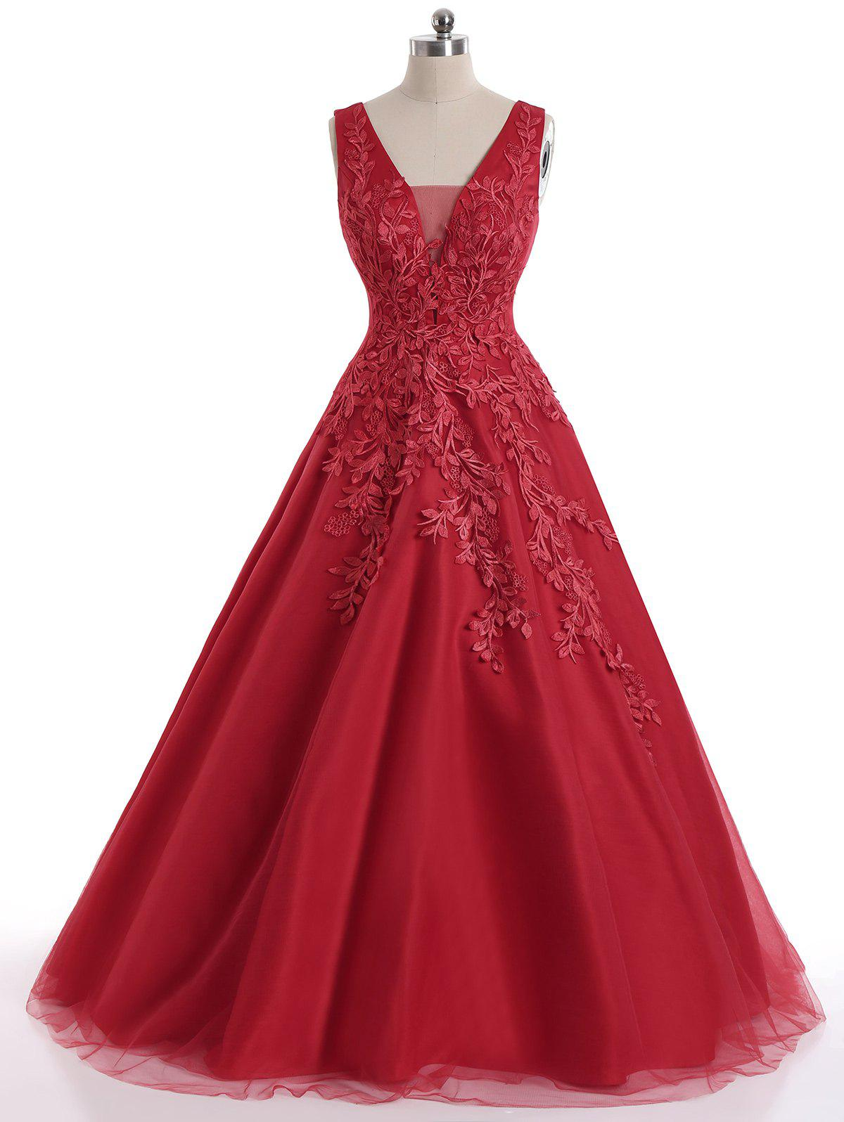 Sleeveless Floral Applique Mesh Maxi Evening DressWOMEN<br><br>Size: 2XL; Color: RED; Style: A Line; Occasion: Bridesmaid,Cocktail &amp; Party,Formal,Wedding; Material: Cotton,Polyester; Dresses Length: Floor-Length; Neckline: Square Collar; Sleeve Length: Sleeveless; Embellishment: Appliques,Mesh; Pattern Type: Solid Color; With Belt: No; Season: Fall,Spring,Summer; Weight: 1.0500kg; Package Contents: 1 x Dress;