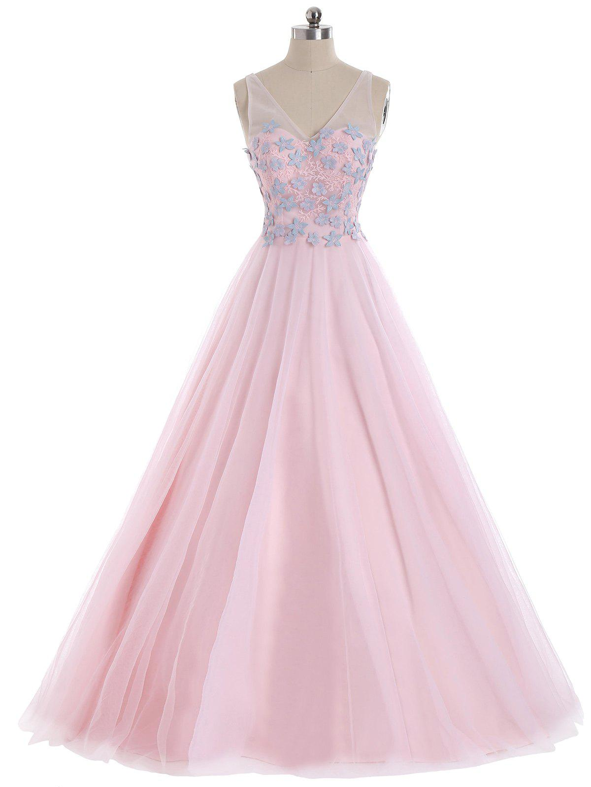 Discount Mesh Panel Floral Applique V Neck Prom Evening Dress