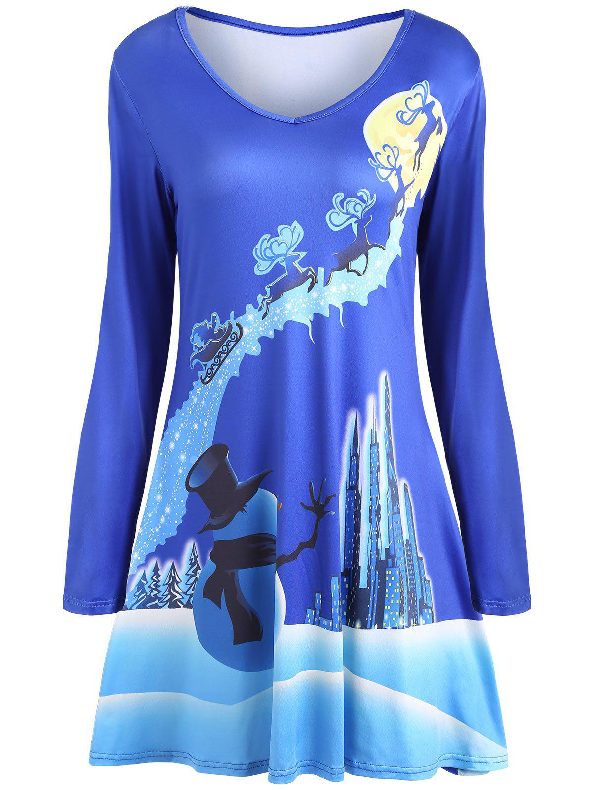 Christmas Long Sleeve Printed Mini Skater DressWOMEN<br><br>Size: S; Color: BLUE; Style: Casual; Material: Polyester; Silhouette: A-Line; Dresses Length: Mini; Neckline: V-Neck; Sleeve Length: Long Sleeves; Pattern Type: Print; With Belt: No; Season: Fall,Spring; Weight: 0.3500kg; Package Contents: 1 x Dress; Occasion: Casual;