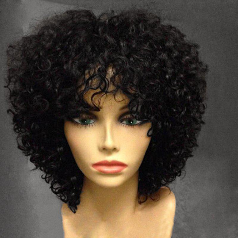 Short Side Bang Fluffy Afro Curly Synthetic Wig