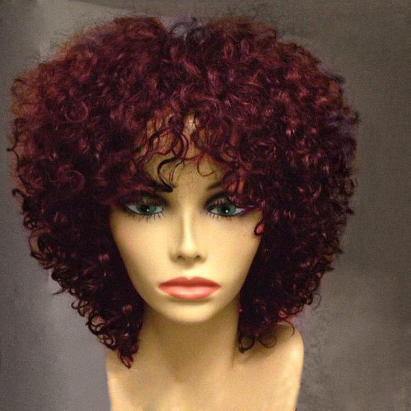 Short Side Bang Fluffy Afro Curly Synthetic WigHAIR<br><br>Color: WINE RED; Type: Full Wigs; Cap Construction: Capless; Style: Afro Curly; Material: Synthetic Hair; Bang Type: Side; Length: Short; Length Size(CM): 30; Weight: 0.2300kg; Package Contents: 1 x Wig;