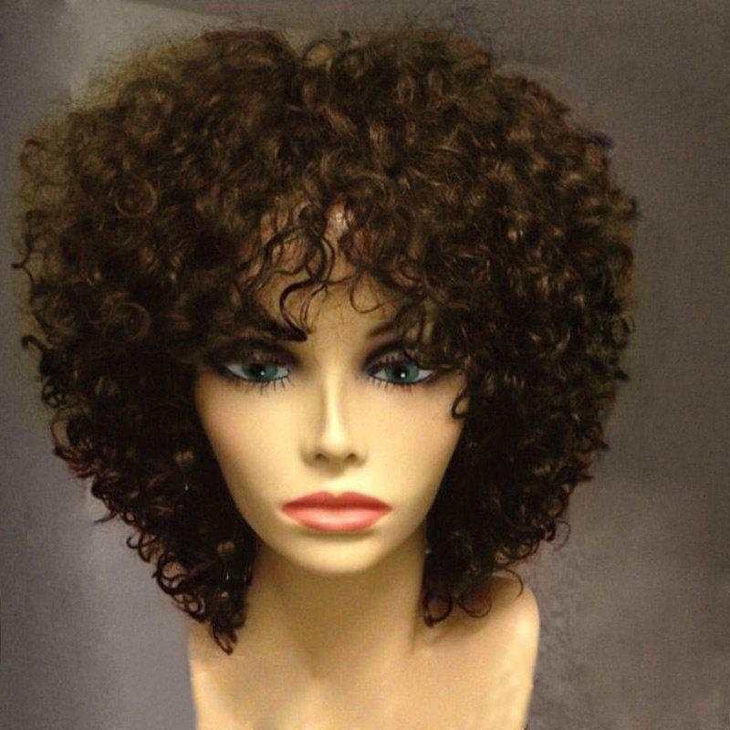 Short Side Bang Fluffy Afro Curly Synthetic WigHAIR<br><br>Color: BROWN; Type: Full Wigs; Cap Construction: Capless; Style: Afro Curly; Material: Synthetic Hair; Bang Type: Side; Length: Short; Length Size(CM): 30; Weight: 0.2300kg; Package Contents: 1 x Wig;