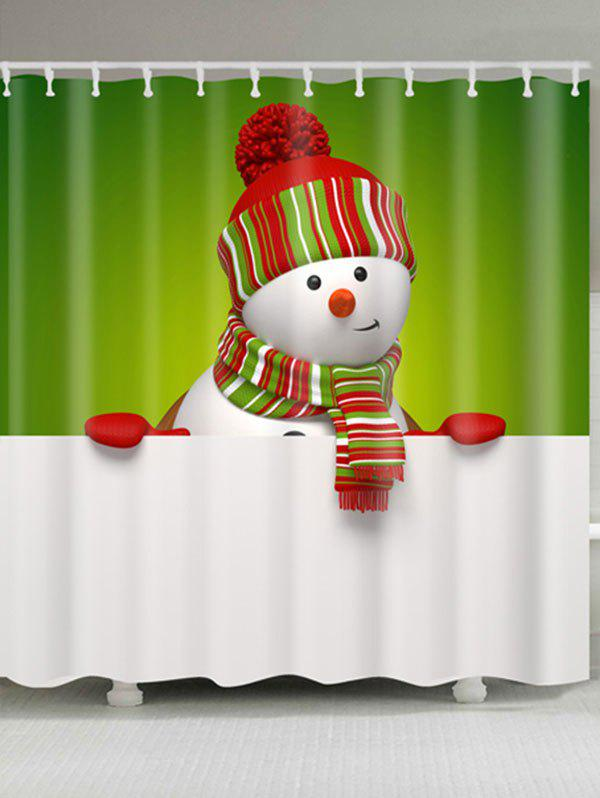 Waterproof Polyester Snowman Christmas Print Bath CurtainHOME<br><br>Size: W71 INCH * L71 INCH; Color: WHITE AND GREEN; Products Type: Shower Curtains; Materials: Polyester; Pattern: Snowman; Style: Festival; Number of Hook Holes: W59 inch*L71 inch: 10; W71 inch*L71 inch: 12; W71 inch*L79 inch: 12; Package Contents: 1 x Shower Curtain 1 x Hooks (Set);