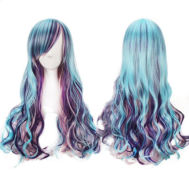 Long Side Bang Wavy Colorful Harajuku Lolita Cosplay WigHAIR<br><br>Color: COLORFUL; Type: Full Wigs; Style: Wavy; Material: Synthetic Hair; Bang Type: Side; Length: Long; Length Size(CM): About 65; Weight: 0.2250kg; Package Contents: 1 x Wig;