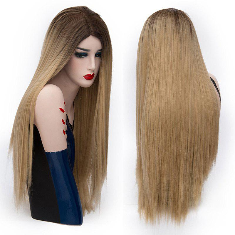 Center Parting Long Straight Colormix Party Synthetic WigHAIR<br><br>Color: BROWN; Type: Full Wigs; Cap Construction: Capless; Style: Straight; Cap Size: Average; Material: Synthetic Hair; Bang Type: Middle; Length: Long; Occasion: Party; Length Size(CM): 75; Weight: 0.2150kg; Package Contents: 1 x Wig;