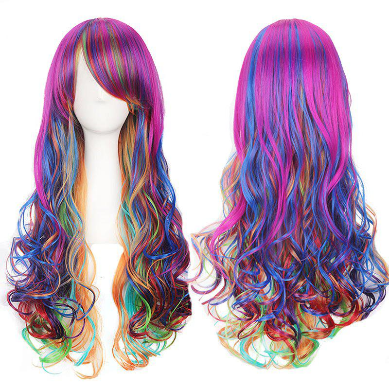 Harajuku Colorful Lolita Cosplay Long Side Bang Curly WigHAIR<br><br>Color: COLORFUL; Type: Full Wigs; Style: Curly; Material: Synthetic Hair; Bang Type: Side; Length: Long; Length Size(CM): About 65; Weight: 0.2250kg; Package Contents: 1 x Wig;