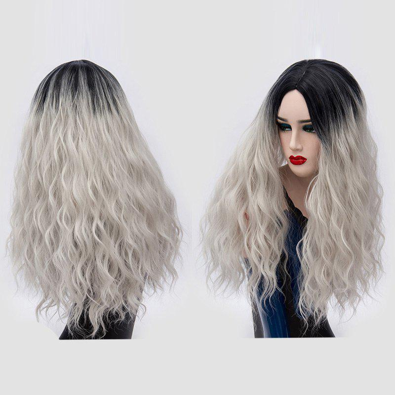 Hot Long Center Parting Water Wave Ombre Synthetic Party Wig