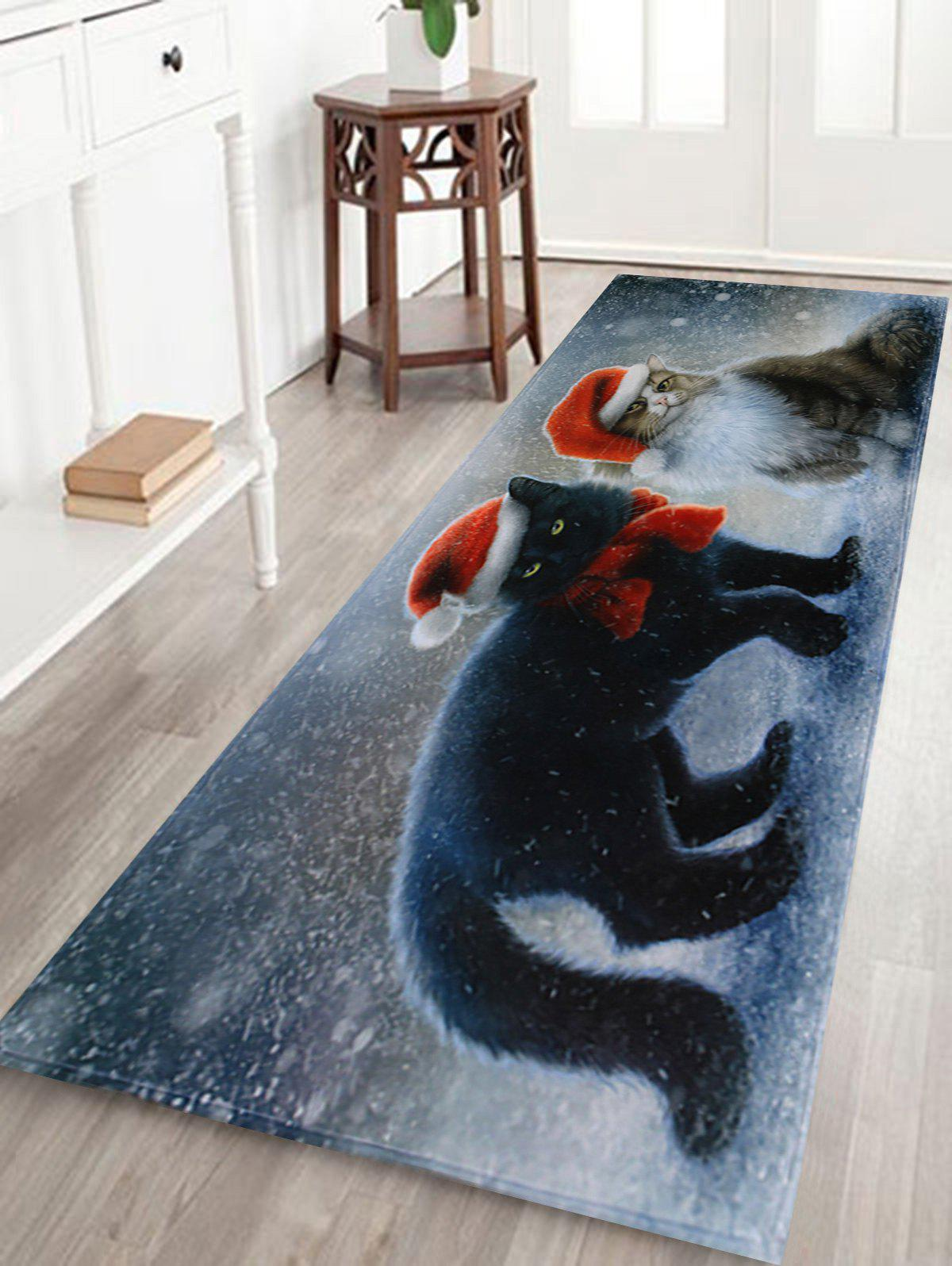 Christmas Cats Pattern Anti-skid Water Absorption Area RugHOME<br><br>Size: W24 INCH * L71 INCH; Color: COLORMIX; Products Type: Bath rugs; Materials: Coral FLeece; Pattern: Animal; Style: Festival; Shape: Rectangle; Package Contents: 1 x Rug;