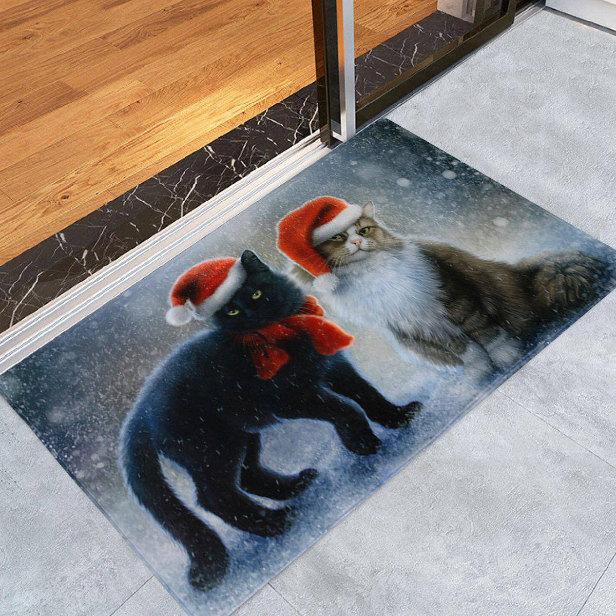 Christmas Cats Pattern Anti-skid Water Absorption Area RugHOME<br><br>Size: W24 INCH * L35.5 INCH; Color: COLORMIX; Products Type: Bath rugs; Materials: Coral FLeece; Pattern: Animal; Style: Festival; Shape: Rectangle; Package Contents: 1 x Rug;