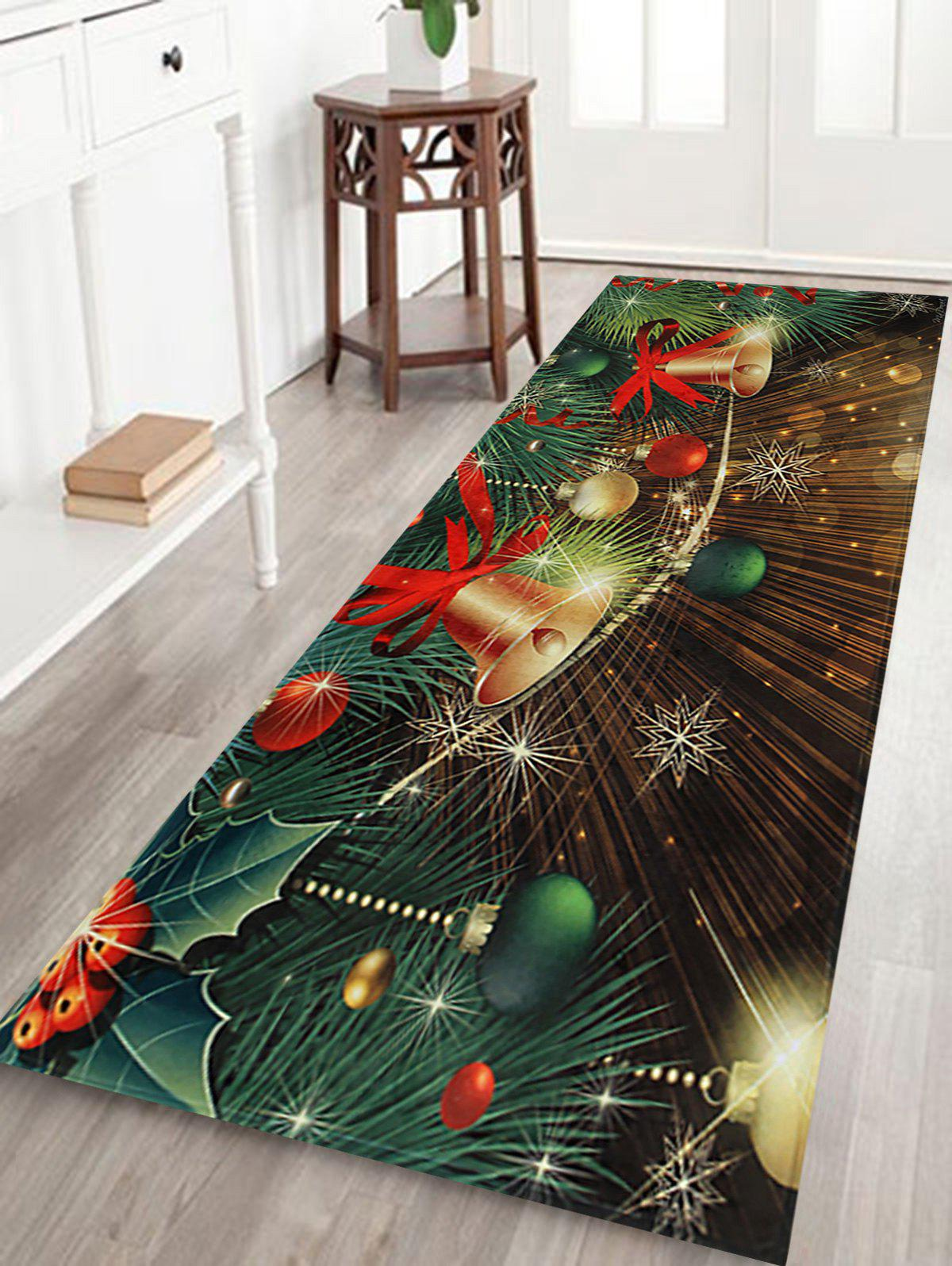 Unique Christmas Bells Baubles Pattern Anti-skid Water Absorption Area Rug
