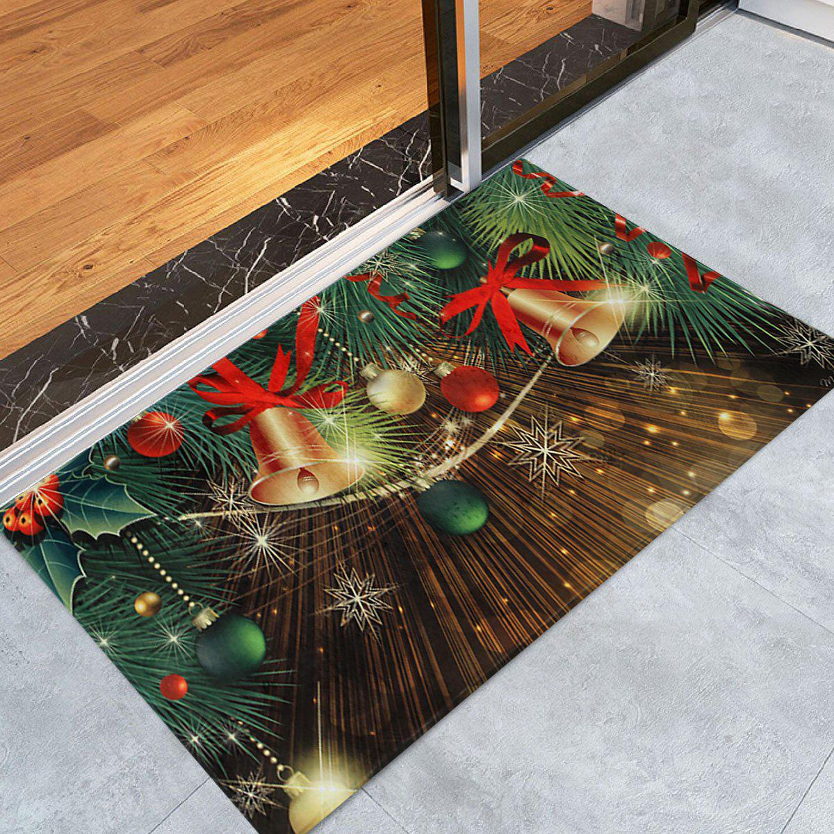 Christmas Bells Baubles Pattern Anti-skid Water Absorption Area RugHOME<br><br>Size: W24 INCH * L35.5 INCH; Color: COLORMIX; Products Type: Bath rugs; Materials: Coral FLeece; Pattern: Ball,Plant; Style: Festival; Shape: Rectangle; Package Contents: 1 x Rug;