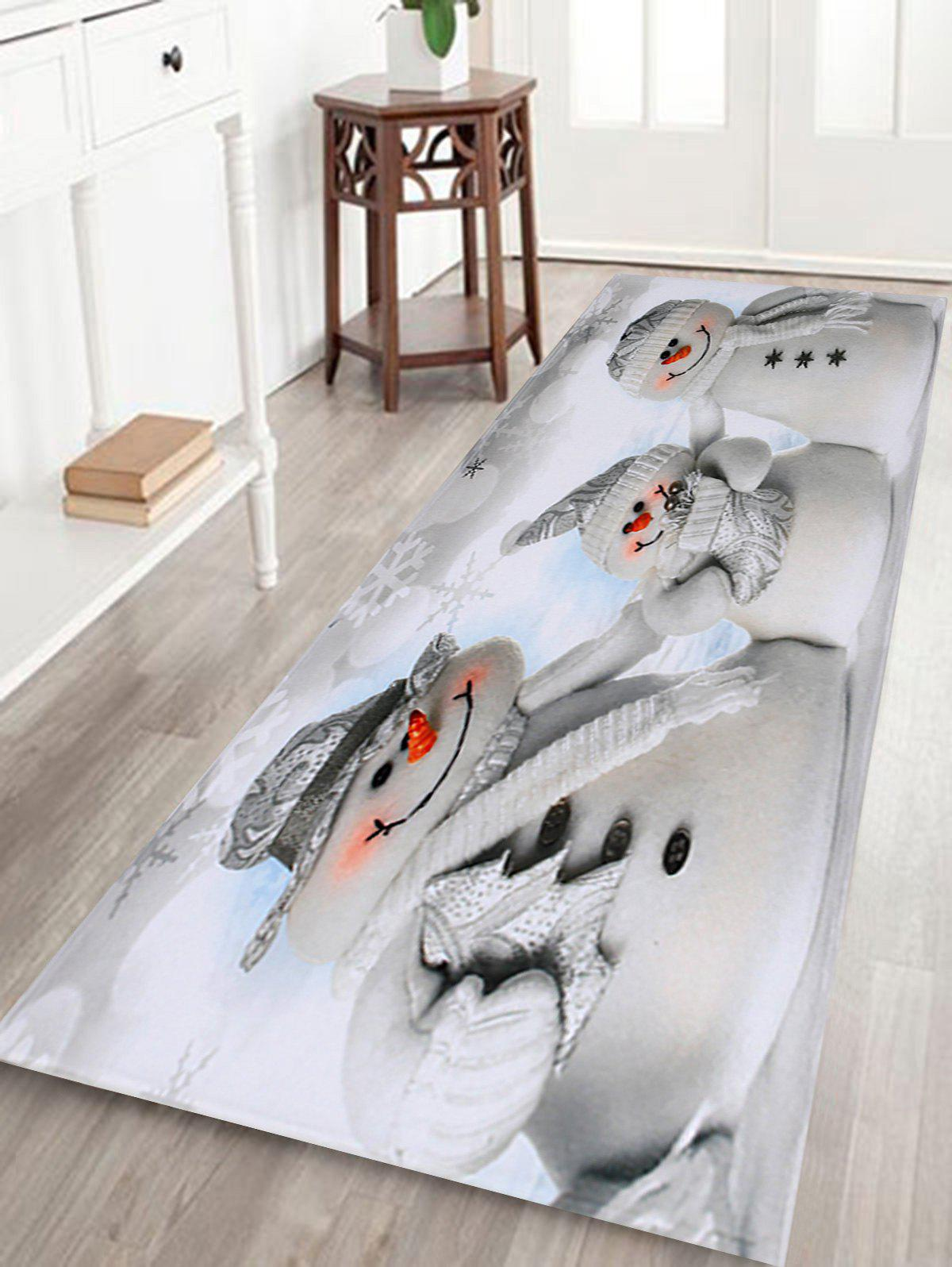 Christmas Snowmen Family Pattern Anti-skid Water Absorption Area RugHOME<br><br>Size: W24 INCH * L71 INCH; Color: GREY WHITE; Products Type: Bath rugs; Materials: Coral FLeece; Pattern: Snowman; Style: Festival; Shape: Rectangle; Package Contents: 1 x Rug;