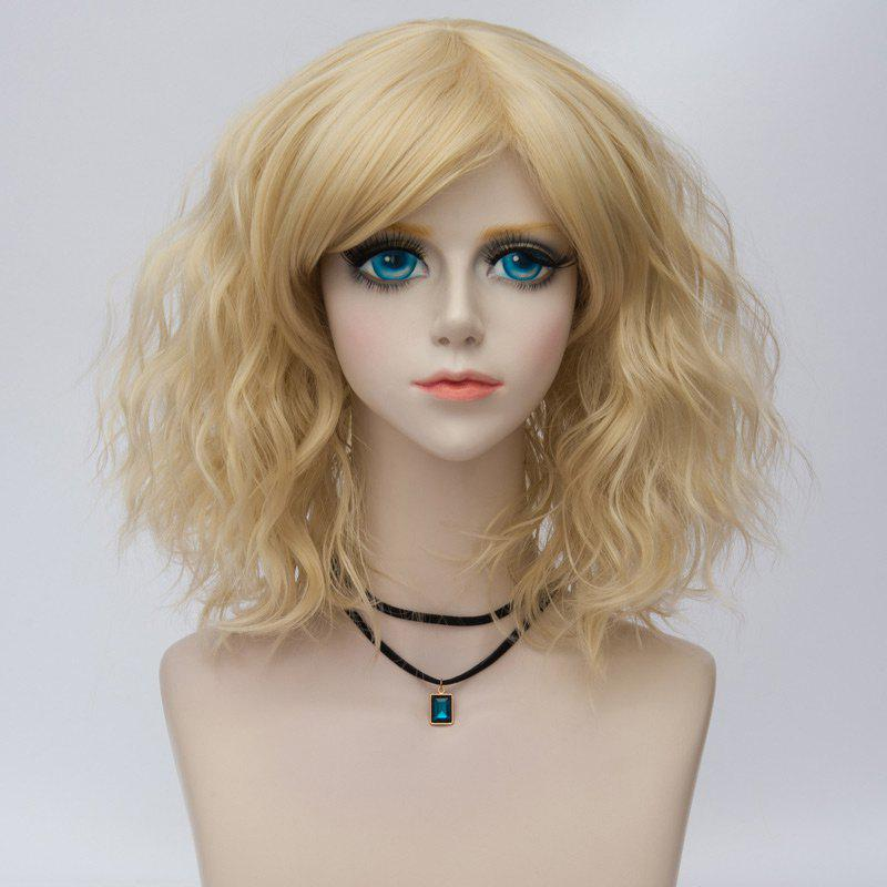 Unique Medium Side Bang Ombre Natural Wavy Synthetic Party Cosplay Wig