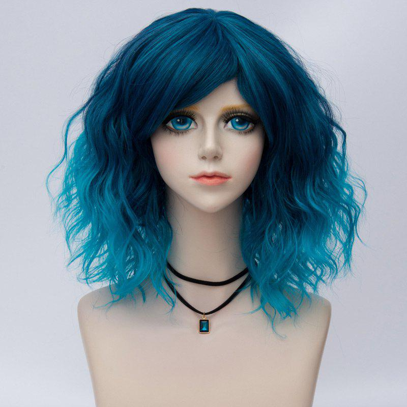 Medium Side Bang Ombre Water Wave Synthetic Party Cosplay WigHAIR<br><br>Color: BLUE; Type: Full Wigs; Style: Wavy; Material: Synthetic Hair; Bang Type: Side; Length: Medium; Length Size(CM): 35; Weight: 0.1700kg; Package Contents: 1 x Wig;