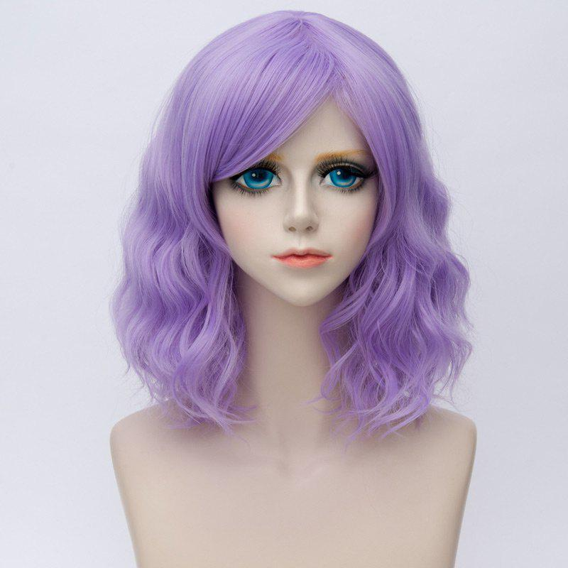 Medium Side Bang Ombre Water Wave Synthetic Party Cosplay WigHAIR<br><br>Color: LIGHT PURPLE; Type: Full Wigs; Style: Wavy; Material: Synthetic Hair; Bang Type: Side; Length: Medium; Length Size(CM): 35; Weight: 0.1700kg; Package Contents: 1 x Wig;