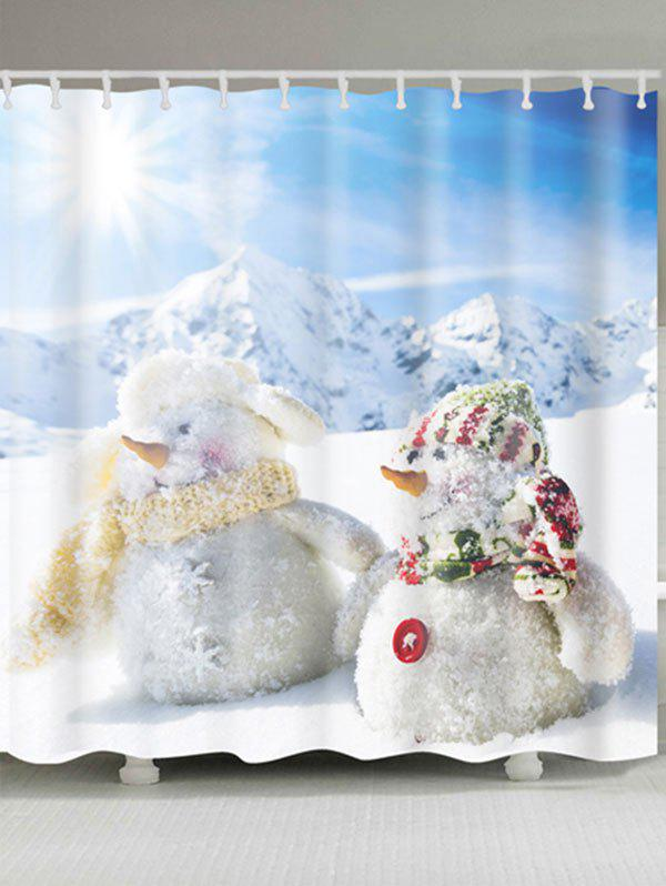 Buy Two Snowmen Printed Polyester Waterproof Shower Curtain