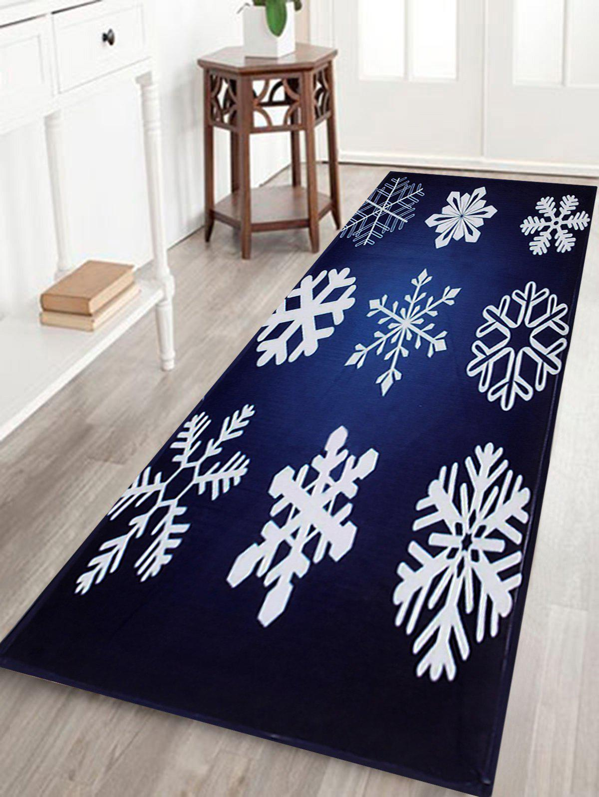 Christmas Snowflake Antiskid Coral Fleece Bath RugHOME<br><br>Size: W16 INCH * L47 INCH; Color: DEEP BLUE; Products Type: Bath rugs; Materials: Coral FLeece; Pattern: Snowflake; Style: Festival; Shape: Rectangular; Package Contents: 1 x Rug;