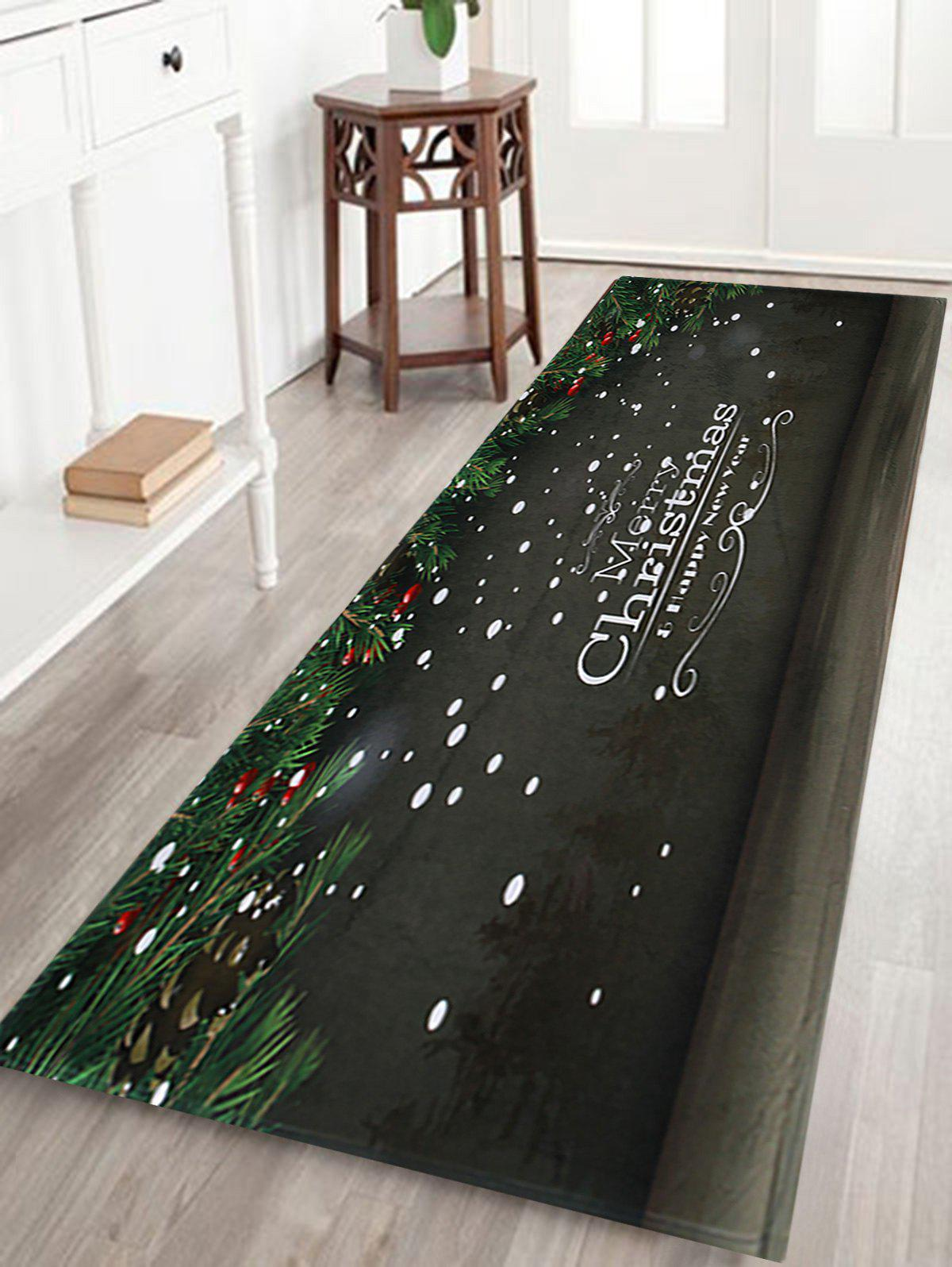 Merry Christmas Printed Coral Fleece Nonslip Bath MatHOME<br><br>Size: W24 INCH * L71 INCH; Color: DARK GREY; Products Type: Bath rugs; Materials: Coral FLeece; Pattern: Letter,Plant; Style: Festival; Shape: Rectangular; Package Contents: 1 x Rug;