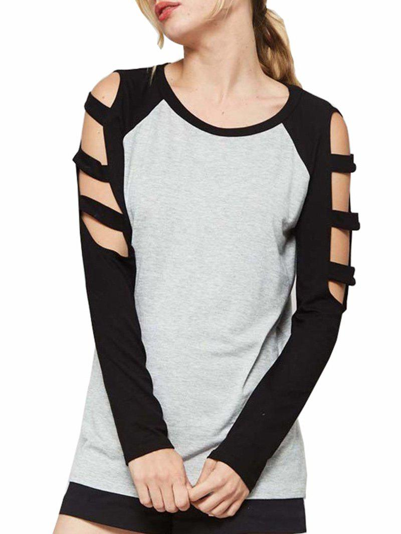 New Cut Out Sleeve Round Neck T-shirt