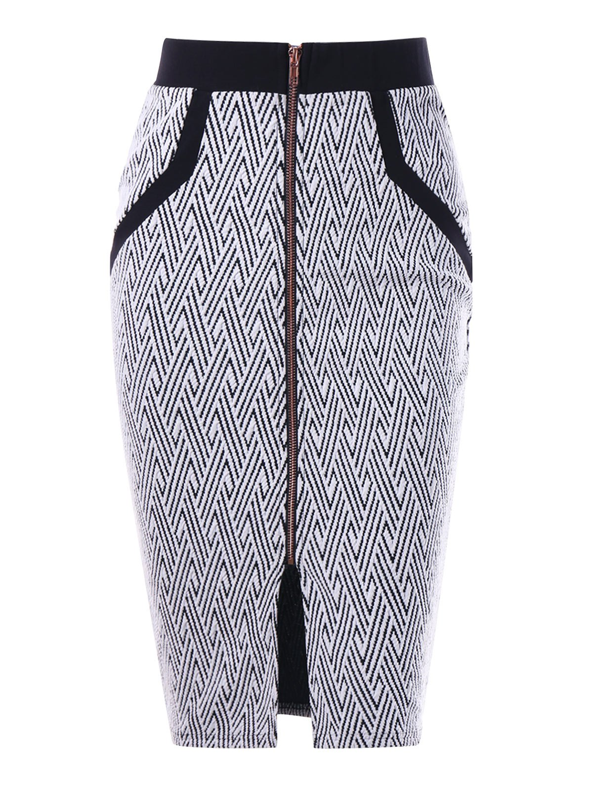 Monochrome Zip Up Pencil SkirtWOMEN<br><br>Size: XL; Color: WHITE AND BLACK; Material: Polyester,Spandex; Length: Mid-Calf; Silhouette: Sheath; Pattern Type: Others; Season: Fall,Spring; Weight: 0.2500kg; Package Contents: 1 x Skirt;