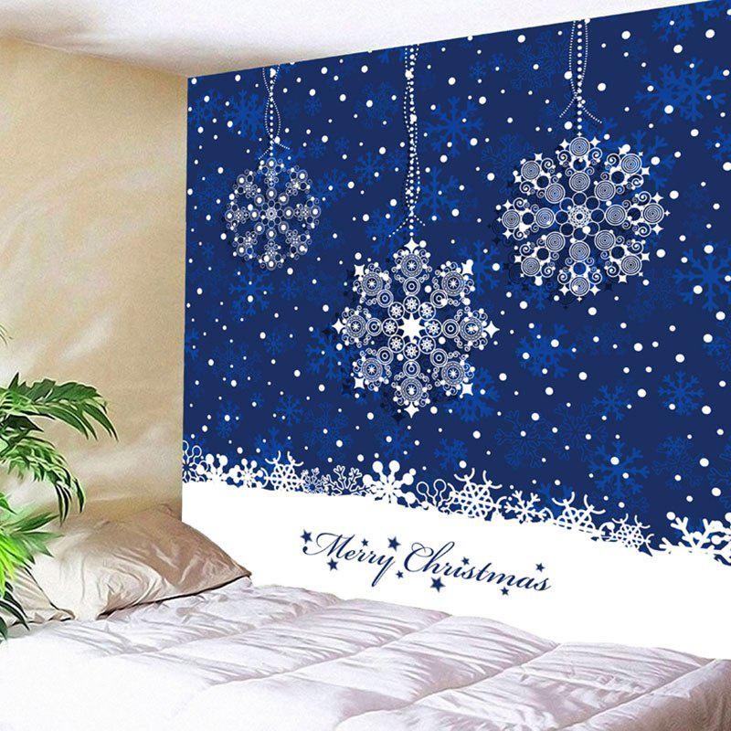 Wall Hanging Christmas Snowflake Print TapestryHOME<br><br>Size: W59 INCH * L51 INCH; Color: BLUE; Style: Festival; Theme: Christmas; Material: Nylon,Polyester; Feature: Removable,Washable; Shape/Pattern: Print; Weight: 0.1800kg; Package Contents: 1 x Tapestry;