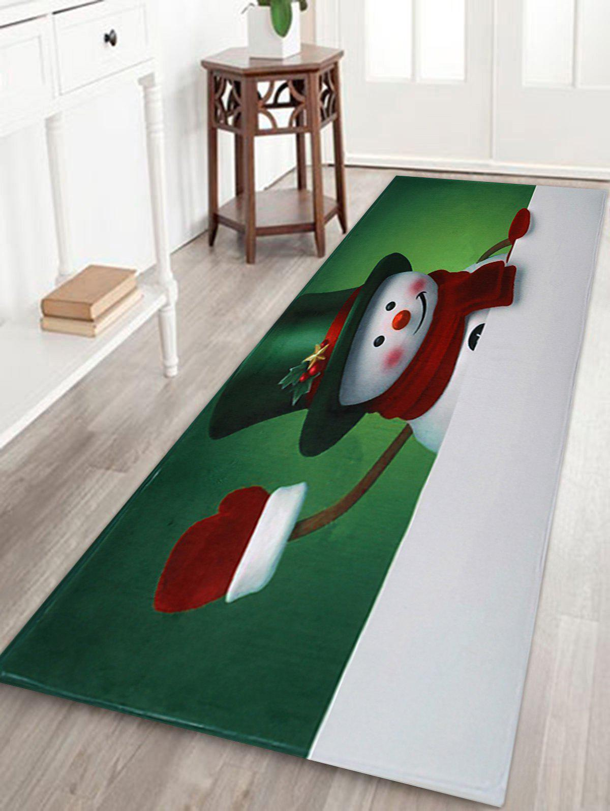 Shops Christmas Hatted Snowman Pattern Anti-skid Water Absorption Area Rug