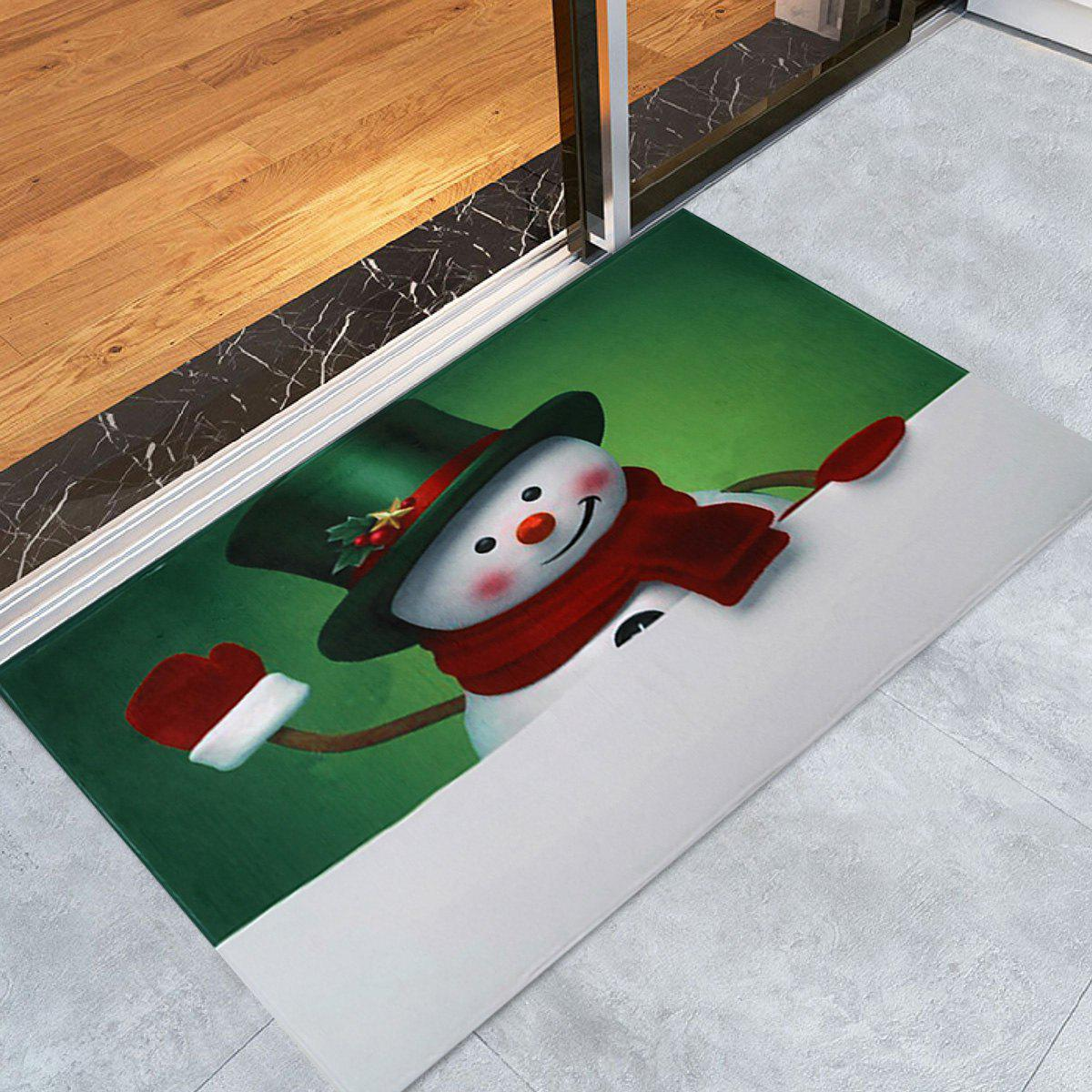 Christmas Hatted Snowman Pattern Anti-skid Water Absorption Area RugHOME<br><br>Size: W16 INCH * L24 INCH; Color: COLORMIX; Products Type: Bath rugs; Materials: Coral FLeece; Pattern: Snowman; Style: Festival; Shape: Rectangle; Package Contents: 1 x Rug;