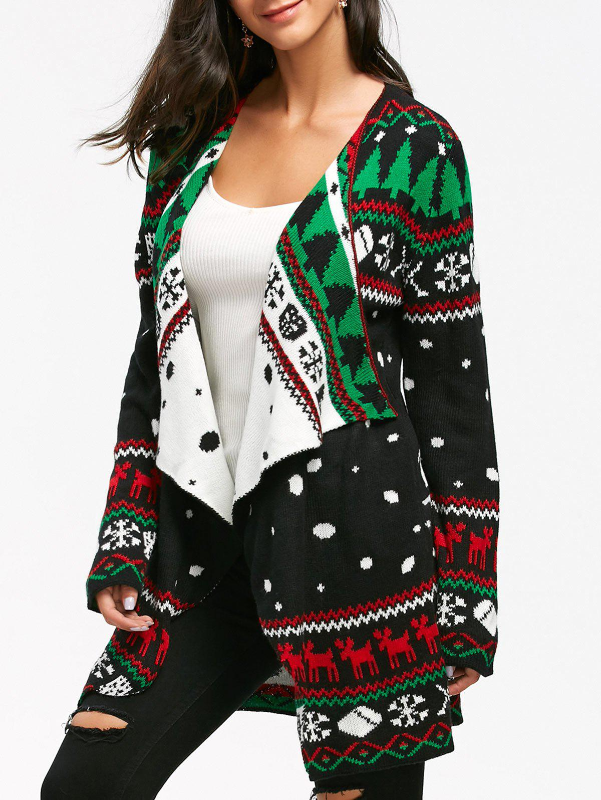 Latest Christmas Graphic Knitted Tunic Draped Cardigan